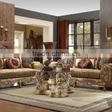 Most Popular Solid Wood American Style Living Room Sofa/Hand Carved Fabric Sofa Set For Luxurious Villa (MOQ=1 Set)