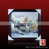 Home furniture decoration handpainted rural scene porcelain islamic art painting from China