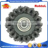 "6"" steel wire cup brush wheel twist knot crimped bowl disc abrasive M14 round grinding cheaning brush"