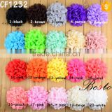 Wholesale decorative colorful handmade chiffon flower for kids hair
