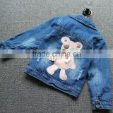 Fashion Cute bear embroidery on the back girls stylish jeans and top with beads cowgirl coat