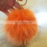 Orange color full real fur pompom/ball metal key chain bag charm wholesale