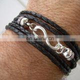 Genuine real leather bracelet with constellation zodiac sign logo charms beads button adjustable size unisex
