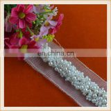 Wholesale custom pearl beaded white lace trim net embroidered for decoration