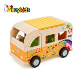 2019 New arrival educational wooden school bus toy for children W04A418