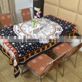 Indian Cotton Table Cloth Black Zodiac Horoscope Printed Dinning Table Cloth Vintage Wall Hanging Throw Bed Sheet Cover TC5