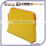 Bright color PU cosmetic bag with golden zipper and leather zipper head