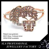 2015 high quality colored zircon bangle jewellry rose gold leaf and butterfly bangles designs sliver SLS jewelry