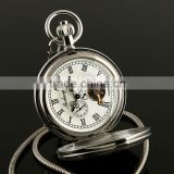 ESS Silver Skeleton Mechanical Pocket Watch Fashion Enamel Pocket With Chain WP134