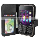 For blackberry Q20 classic wallet case,black wallet leather case for blackberry Q20 classic