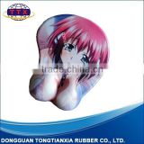 breast girl breast rest mouse pad, mouse pad with hand rest, beauty mouse pad, anime mouse pad, gel breast mouse pad