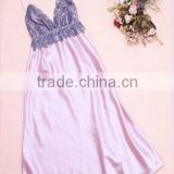 Comfortable And High Quality Satin Lace Sleepwear Nightgown Night dress Robes