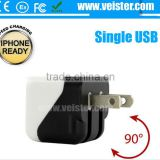 Wholesale collapsible mini usb 5V 1A US Plug usb travel charger adapter for For iPhone/Samsung