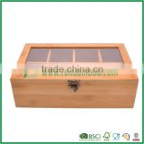 mini bamboo tea bag box caddy chest kitchen storage container organizer