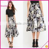 Contemporary Allover Floral Tropical Print Fabric A-Line Midi Skirt Latest Long Skirt Design 2016