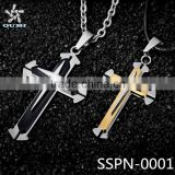 Wholesale Christian jewelry Gift Unisex's Men Black Silver Gold Stainless Steel Cross Pendant Necklace