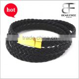 Personalised Multilayer Black Leather Mens Bracelet Free Engraving Stainless Steel Clasp