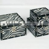 Zebra texture retro square jewelry box with buttons
