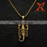 Personality Heavy Jewelry Stainless Steel Gold Plated Scorpion Skull Boy Men's Pendant                                                                         Quality Choice