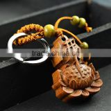 High-grade rosewood carved Buddha Lotus Keychain pendant ornaments keys                                                                         Quality Choice