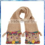 young girls space dye owl pocket scarf with tassels and buttons