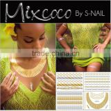 Mixcoco metallic tattoo supply, custom body jewelry temporary metallic tattoo/water transfer printing gold tattoo                                                                         Quality Choice