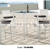 Celeste New Arrival White Rattan Bar Furniture All Weather Outdoor Garden Table and Chair