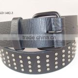 fashion metal rivet studded black PU leather belt