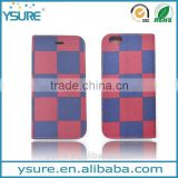 RedBlue Chess Pattern Fabric Book Style Leather Phone Case For Alcatel One Touch POP C7 with PVC ID and credit card slots