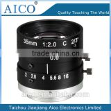 cn aico hot sale manual iris CCD CMOS 35 mm 2/3 inch megapixel c mount f2.0 industry lens