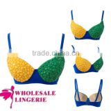 Hot Fashion New Design Cheap Yellow And Green Spike Bra Top