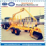 Best price CE approved log trailer with crane loading machine from china
