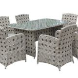 Outdoor Furniture Table And Chair PE Rattan Wicker Powder Coating Aluminum Frame Teak Waterproof Fabric