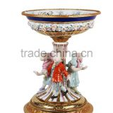 European Design Ceramic Planter of Children Playing Under The Base, Floral Painting Porcelain Compote and Brass Figurine Status
