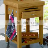 natural finish E1 MDF with drawer wooden serving trolley