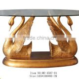 MO-4507-01 Glass topped table with carved swan
