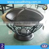 Heavy-duty construction outdoor wood or charcoal burning patio portable steel outdoor round fire pit