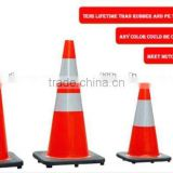 100cm /70cmPVC and Rubber Reflective Base Traffic Cone With Red and White Color