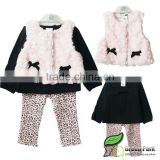 girls brand winter clothing sets kids fashion 3pcs outfit children's pink leopard sets