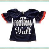 2017 wholesale clothes girl sweater shirt dark bule lace puff sleeve american football jersey