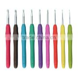New Design Knitting Needle Crochet hook, 9pcs Rubber Crochet hooks with plastic case