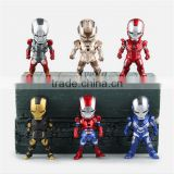 (Top Quality) The Avenger action figure Q version IronMan PVC figure set of 6pcs The fourth generation Ironman collection toys