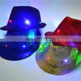 China best quality Light up Jazz Hat / LED Sequin Caps LED Flashing Light up Cap for Birthday Party Led Hat led cap silk hat