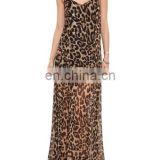 CHEFON V-neck Cut-out Straps Longline Leopard resort casual dress
