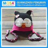 Baby Girls Crochet Black Hot Pink OWL Beanie hat With Flower. Knitted Winter Beanie ear flaps Newborn Baby Hat Premium Knit hat