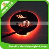 wholesale led light drink coaster with glow in the dark