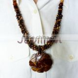 Necklace Masterpiece HAND Carved into Beads All natural from Coconut shell