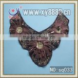 Fashion embroidery lace collar with firework shaped sequins