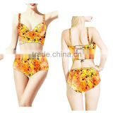 Hot summer beach girl underwear swimwear, seaside print colorful women bikini, sexy back strape swimsuit