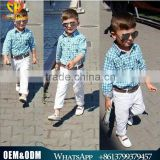 2016 European and American style gentleman model kids boys long-sleeved plaid shirt white trousers with belt three sets of suits